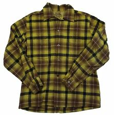 Vintage 1950s Penny's Towncraft Brown Yellow Wool Long Sleeve Shirt Mens 15 1/2