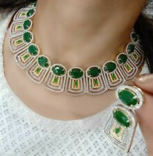 Necklace Jewelry Green Stone Gold Plated American Diamond Earring Choker Women