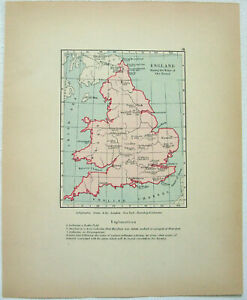 Vintage Longmans Map of England During the War of the Roses. 1910 Lithograph