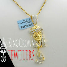 Mens Ladies Real Diamond Mini Praying Hand Jesus Pendant Chain 10K Gold Finish