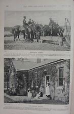 1898 BOER WAR ERA PRINT ~ CAVALRY WATERING HORSES ~ ARMY NURSING SERVICE CURRAGH