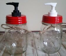 Christmas Jar Soap Dispenser Apple Red Lid & Plastic Pump - Mason Jar Optional