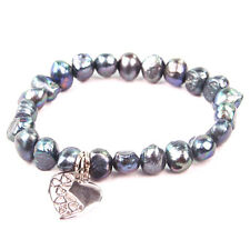 BG3123-2 Black Single Stand Real Freshwater Pearl Bracelet with Heart Pendant