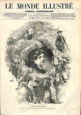 Pauline Virginie Déjazet Actrice FRANCE GRAVURE 1874