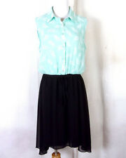 euc Bisou Bisou Seafoam Green Black Atomic Feather Pattern Dress vtg theme 10