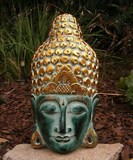 "Bali Buddha Wooden Mask Meditating Art Asian Home Decor Hand Made 20"" x 10"""