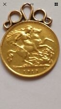 22CT Half Gold Sovereign on 9CT Mount 1913 5gr