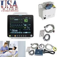 "12""Vital Sign Patient Monitor Machine 6-parameter ECG NIBP RESP TEMP SPO2 PR US"