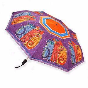 Laurel Burch Canine Dogs Brights Fuschia Compact Umbrella Auto Open Close New