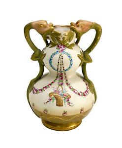 Gemstone Marketed Perfect Gold /& Rose Painting 23 cm Orig Porcelain Vase