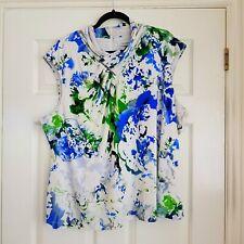 CALVIN KLEIN Womens White Blue Green Splash Print Top Blouse Stretch 3XL UK 22