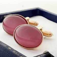 Vintage - 1970s Raspberry Moonglow Glass Cabochon - Oval Gold Plated Cufflinks