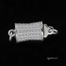 HIGH END! Sterling Silver Pillow 1-Strand CZ Pave Set Pearl Box Clasp #99263