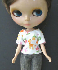 Blythe Doll Outfit Cloth Animal Print white Short Sleeve Tee