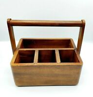 Vintage Wood Flatware Caddy Barbecue Utensils Condiments Holder Picnic