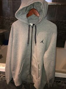 Men's Nike Air Jordan Heather Gray Full-Zip Long Sleeve Hoodie Size Large