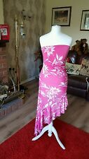 "Ladies ""Jane Norman"" Pink & White Floral Sleeveless Summer Dress (Size 10)"