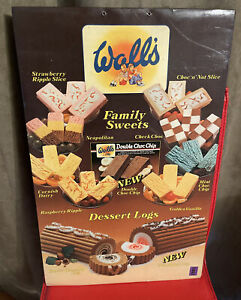 """WALL'S VINTAGE ICE CREAM SHOP DISPLAY HANGING ADVERT FAMILY SWEETS 251/2"""" X 16"""""""