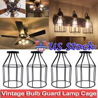 Vintage Metal Bulb Guard Lamp Cage Pendant Lights Lamp Holders Ceiling Fan Cover