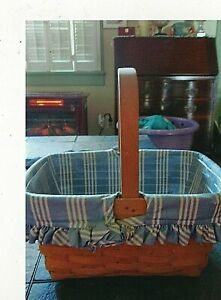 Longaberger 1999 Basket with blue & White striped liner and Protector