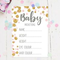 Baby Shower Prediction Game Pack of 10 A6 Cards Pink & Gold Polka Dots Baby Girl