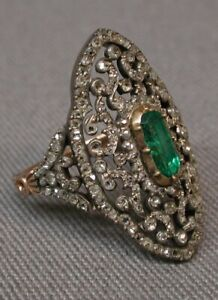 Ring 925 Sterling Silver Vintage Style Green Emerald White Round Handmade Ring