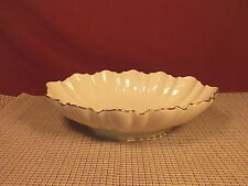 Lenox Fine China Oval Fluted Foot Serving Bowl / Centerpiece Ivory Gold Trim 11""