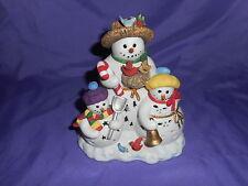RETIRED PARTYLITE SNOWBELL TEALIGHT CANDLE HOLDER P7702 SNOWMAN & SNOW CHILDREN