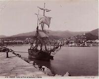 San Remo Sanremo Vela Italia Foto Vintage Albumina Ca 1880