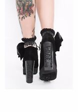 Iron Fist Women's Night Stalker BAT WING Cleated PLATFORM Heel Boots BLACK SZ 6
