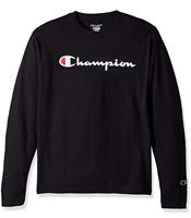 Champion Mens Tees Classic Script Logo Long Sleeve T Shirt Brand New S-2XL
