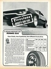 1971 Firestone Sports 500 Tire on Plymouth Roadrunner Ronnie Sox Print Ad.