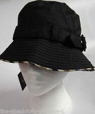 AQUASCUTUM Cotton Mix Raincoat BLACK Cloche Rain Sun HAT sz M BNWT