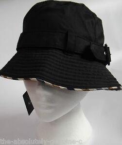 AQUASCUTUM Cotton Mix Raincoat BLACK Cloche Rain Sun HAT sz S BNWT