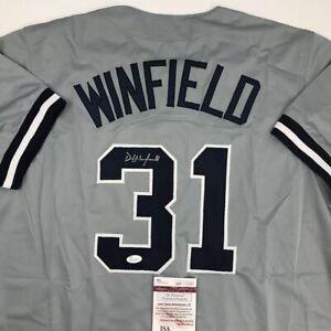 Autographed/Signed DAVE WINFIELD New York Grey Baseball Jersey JSA COA Auto