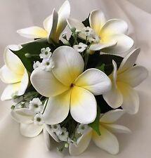 Silk wedding Latex white yellow frangipani gyp flowers bridesmaids bouquet fake