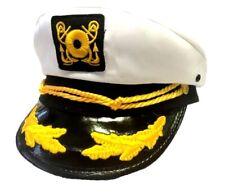 Deluxe White Yacht Cap Captain Hat Costume Accessory Adult Sailor Navy Pilot New