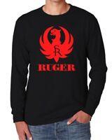 Ruger Logo Long Sleeve T - Shirt Black 2nd Amendment Pro Gun Rifle AR-15 Strum