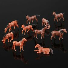 10pcs Colored Painted Model Cute Horse Farm Animals Miniatures Toys Scale 1:87