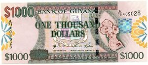 BANK OF GUYANA $1000 GEM CU PAPER MONEY NOTE!!!..STARTS@ 2.99