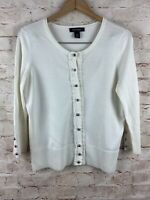 White House Black Market Button Down White Cardigan Sweater Size Medium