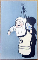 1903 Postcard: Crying Baby Hanging from a Hook - Artist-Signed