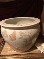 "Asian Porcelain Koi Fish Inside Bowl Planter Pot Seashell Outside 12 3/8""x9 1/2"""