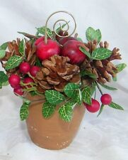 Pinecone Holiday Apple Floral Pot Table Place Card Holder Setting 18953