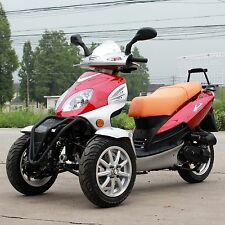 New YD 49cc Trike Bike Gas Moped Scooter 3 Wheels with Rear Carrier Red