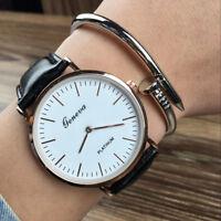 Luxury Men Women Geneva Stainless Steel Leather Band Analog Quartz Wrist Watch
