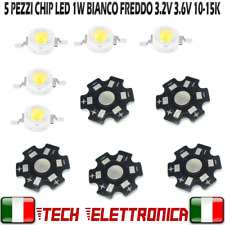 5 pezzi Chip led 1W bianco freddo 350mA 3.2V 3.6V alta luminosità 10000-15000k