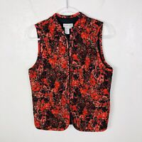 Coldwater Creek Size Medium Zip Front Vest Red Black Gold Made In USA