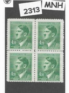 MNH block / Adolph Hitler / 1944 Third Reich 4.20 Kr / WWII German Occupation