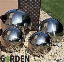 Set of 4 Silver Mirror Garden Spheres Stainless Steel Gazing Balls 20,10,15CM